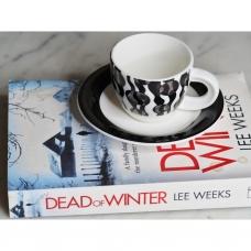 Baltai juodas espresso puodelis