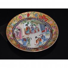 Kantonietiška family vert dekoratyvinė rankomis dekoruota lėkštė