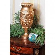Medinė auksinė dekoratyvinė rankų darbo vaza
