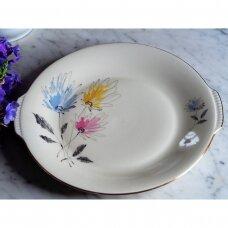 Mid -century stiliaus Kronester serviravimo lėkštė dekoruota stilizuotomis gėlėmis