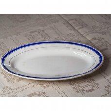 Pailga serviravimo lėkštė mėlynu kraštu