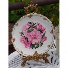 Royal Albert Camellia dekoratyvinė lėkštė, puošta rožinėmis kamelijomis