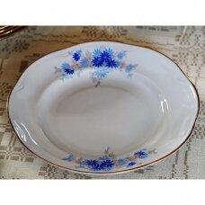 Rygos porceliano serviravimo lėkštė su mėlynomis gėlėmis