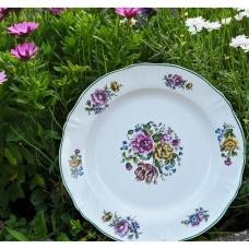 Senovinė lėkštė su gėlėmis